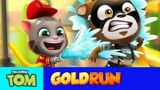 Talking Tom Gold Run - Fireman Tom to the Rescue! (New Update)