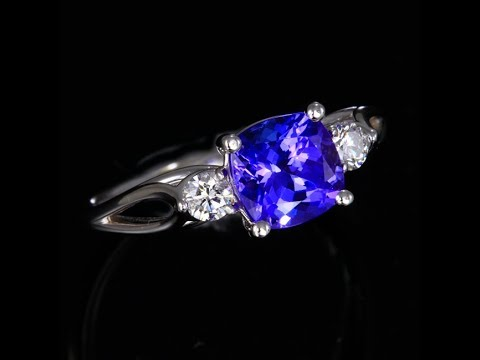 Square Cushion Tanzanite Ring 1.73 Carats