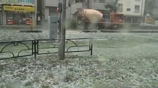 【東京 駒込】石ころ大のひょう(雹)が川のように道路を流れる ゲリラ豪雨 2017年 Tokyo Japan Summer Hail Guerilla Heavy Rain 7月18日