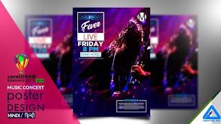 CorelDraw 2019 | Music concert poster design in Hindi