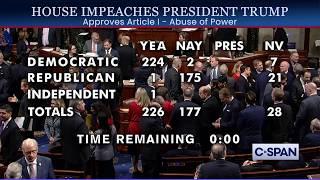 House of Representatives Impeach President Donald Trump