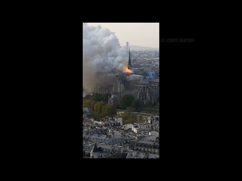 A Paris fire official said the towers of Notre Dame Cathedral would have fallen if firefighters hadn't deployed massive equipment and acted swiftly to fight the fire racing across the monument. (April 17)