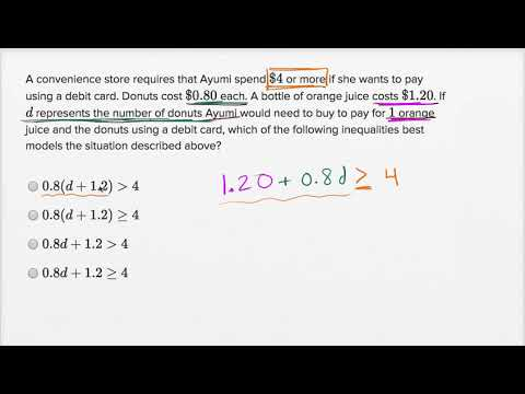 Linear inequality word problems — Basic example (video