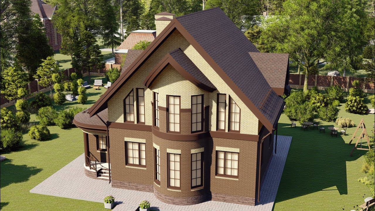 Проект большого загородного дома из газобетона с эркером 200 кв м