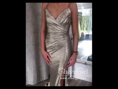Deep V Neckline Mermaid Sparkly Prom Dress with Side Slit Sweep Train ARD2623
