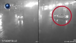 Столкновение инкассаторской машины и автобуса в Ташкенте