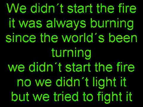"Billy joel ""we didn't start the fire"" sheet music in g major."