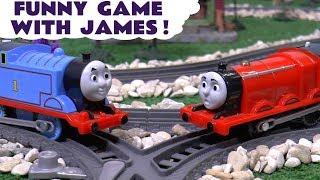 Thomas & Friends Toy Trains Dinosaur Funny Prank on James with Play Doh - Fun toys story ToyTrains4u