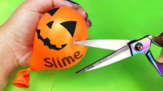 Making SLIME with BALLOONS! 💦 DIY Halloween Balloon Slime Challenge