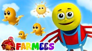 Incy Wincy Spider Sat on a wall | Farmees Nursery Rhymes & Songs for Babies | Animal Cartoon Videos