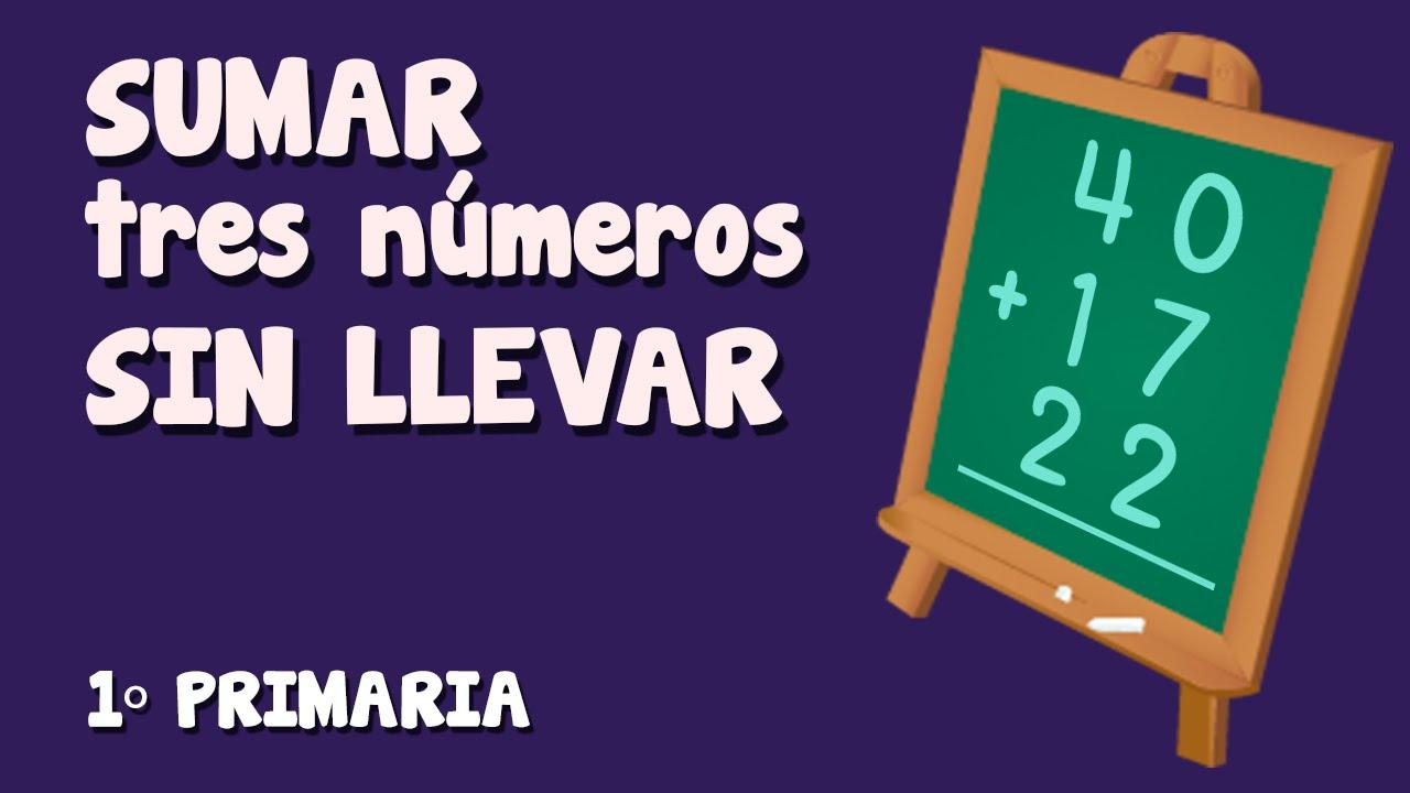 Suma vertical, sin  llevar,  de tres números para niños de Primaria (3/3)