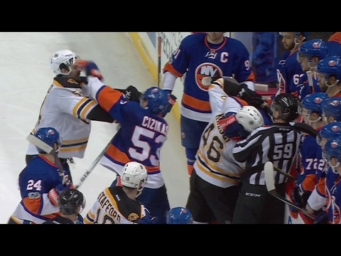 Islanders and Bruins scuffle after Pastrnak decks Gionta