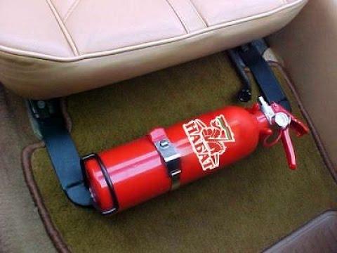 В каком месте должен лежать огнетушитель и аптечка?
