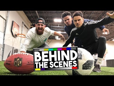 DUDE PERFECT: FOOTBALL VS SOCCER TRICK SHOTS! BEHIND THE SCENES!