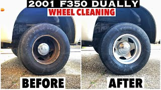 2001 F350 7.3 Powerstroke - Cleaning 18 year of Really Dirty Dually Wheel from Baked on Brake dust