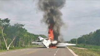 video: Watch: Drug plane blazes on runway in Mexico