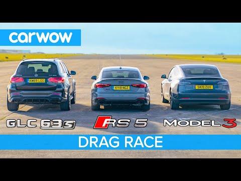 Tesla Model 3 vs Audi RS5 vs AMG GLC63: DRAG RACE *surprise result*!