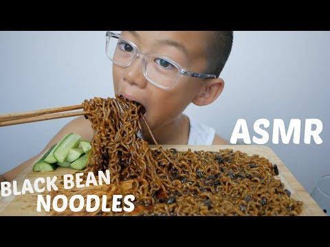 Black Bean Noodles | ASMR Eating Sounds | N.E Let's Eat