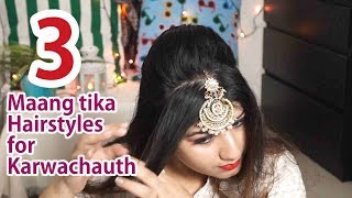 3 आसान maang tika hairstyles for Karwachauth with gajra