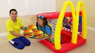 Wendy Pretend Play w/ McDonald's Inflatable Restaurant Drive Thru Food Toy