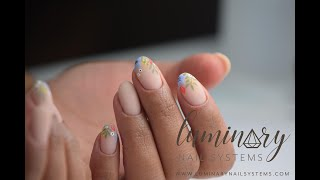 Floral Nail Art W/ @sierrasnails_ On Nude Structured Mani   Luminary Nail Systems