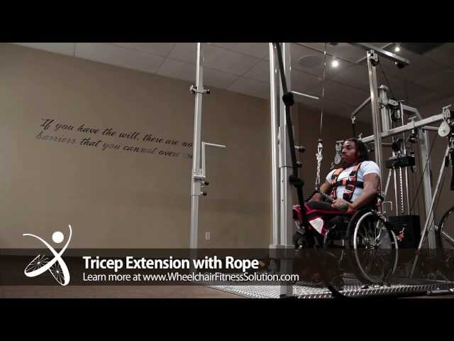 Wheelchair Fitness Solution | Exercise: Tricep Extension with Rope (33 of 40)