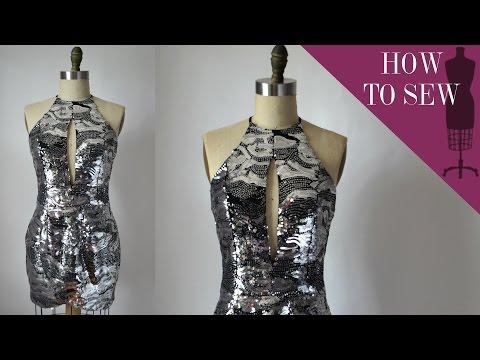 How To Sew A Sequin Halter Tulip Mini Dress