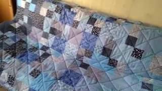 """Лоскутное одеяло """"Синие квадраты"""""""