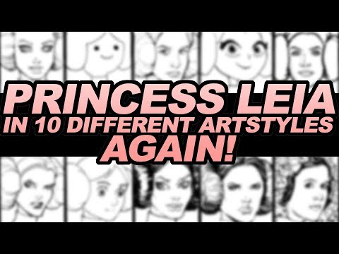 DRAWING PRINCESS LEIA in 10 DIFFERENT ART STYLES... AGAIN!