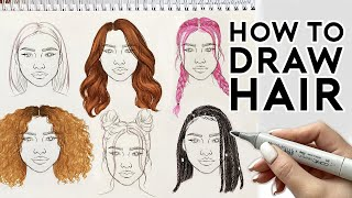 HOW TO DRAW HAIRSTYLES | Sketching & Coloring Tutorial