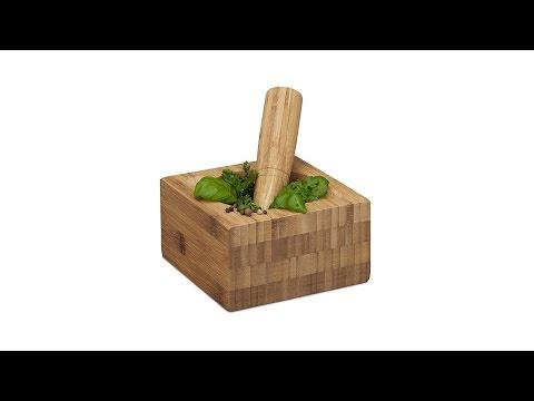 Mörser mit Stößel aus Bambus