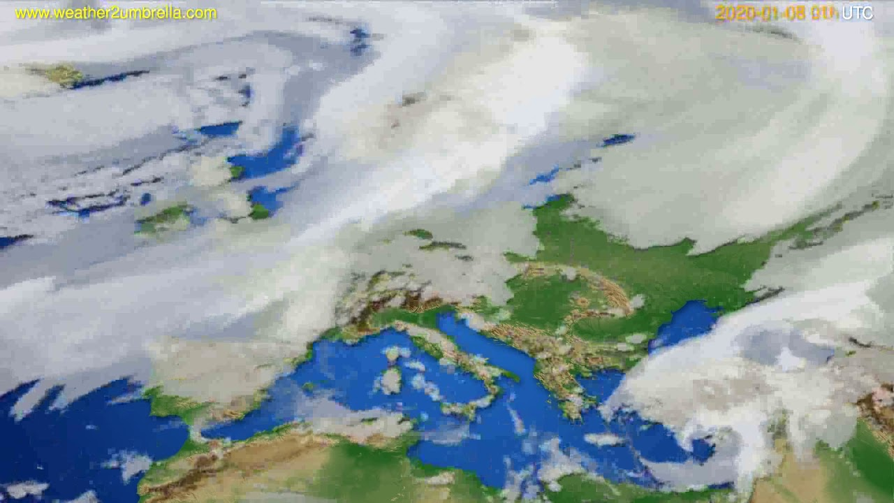 Cloud forecast Europe // modelrun: 12h UTC 2020-01-06