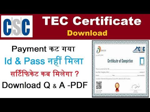 TEC Certificate Registration-tec Question and Answer pdf-tec ...