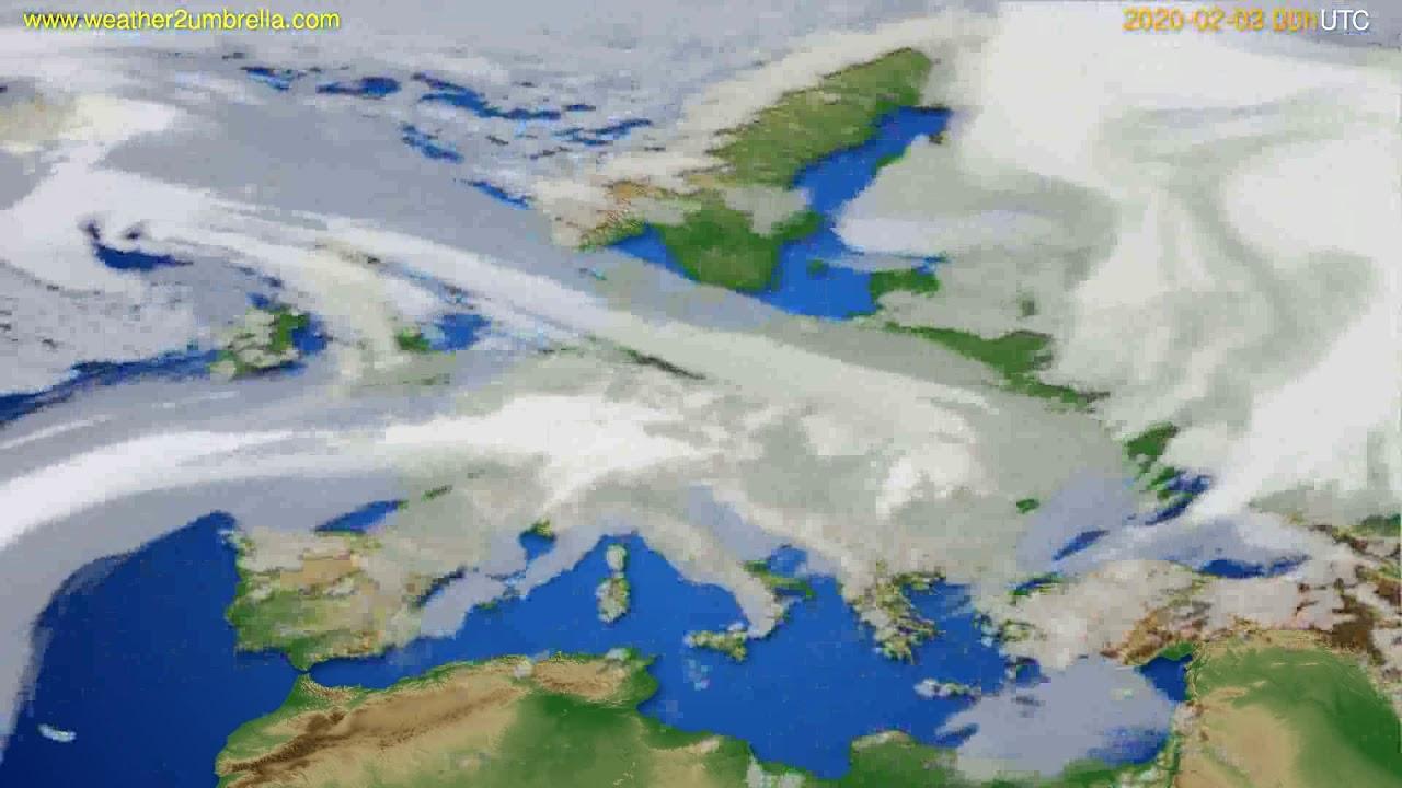 Cloud forecast Europe // modelrun: 00h UTC 2020-02-02