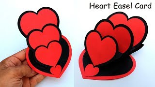 Triple Heart Easel Card For Loved Ones || Love Cards Ideas For Birthday & Valentines Day