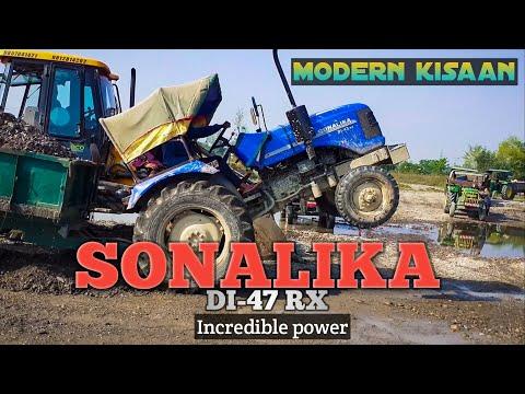 Sonalika DI 47 RX Tractor fully loaded | JCB Machine concrete loading | Sonalika Tractor Stunt Video
