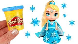 Frozen Elsa Play Doh Sparkle Dress with Leah from Shimmer & Shine | Hairdorables Play Doh Dresses