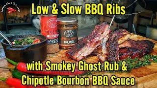 BBQ Ribs Low & Slow with The Smokey Carter Ghost Spice Rub and Chipotle Bourbon BBQ Sauce