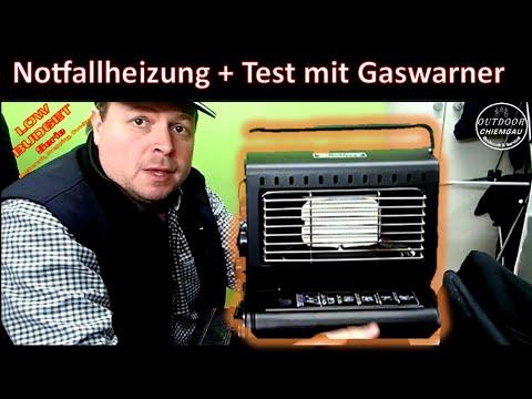 Highlander Gasheizstrahler 1,3 KW - Notfallheizung bei Stromausfall? - Test mit THW Gaswarngerät