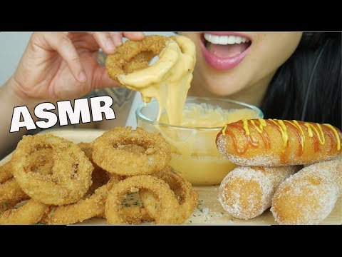 ASMR ONION RINGS & CORNDOGS with CHEESE SAUCE (EXTREME CRUNCHY EATING SOUNDS) NO TALKING | SAS-ASMR