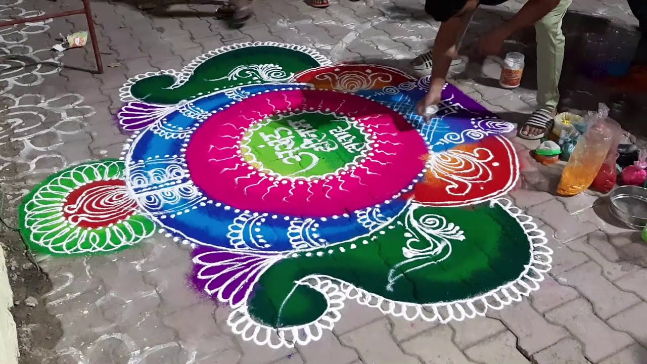 colorful sanskar bharti rangoli design by rohit art