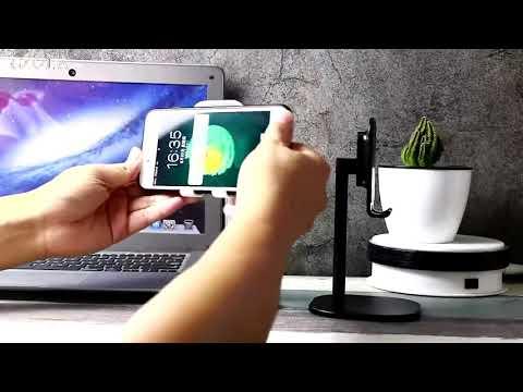 Настольная подставка держатель для телефона и планшета Telescope светло-серый (DT-19520) Video #1