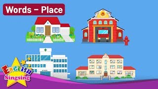 "Kids vocabulary Theme ""Place"" - House, Fire Station, Hospital, School - Words Theme collection"