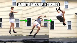 Learn Backflip On Trampoline - Easiest Way Ever - Turning a 360 Upside down