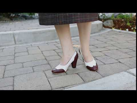 Peggy Women's 1940s Spectator Pumps (Brown/White)