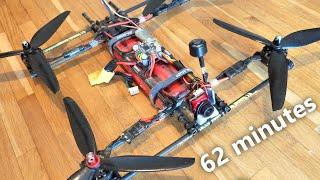"""1 hour flight time (DIY 7"""" FPV quad, Sanyo 18650 Li-Ion)"""