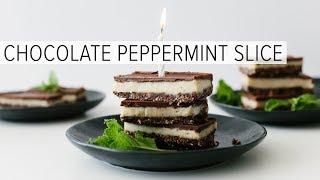 CHOCOLATE PEPPERMINT SLICE | Gluten-free, Dairy-free, Vegan, Paleo