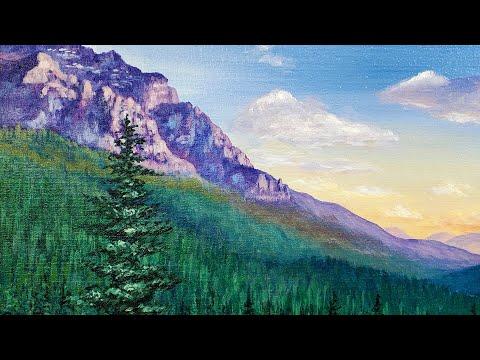 mountain pine tree painting tutorial using acrylic colors