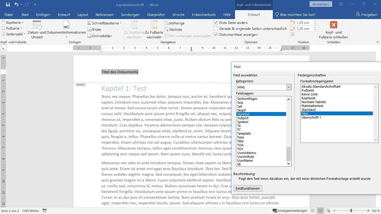 Dokumententitel und Kapitelüberschriften in Kopfzeile einfügen – Word-Tutorial