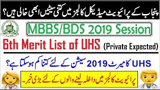 UHS 6th Merit List of MBBS/BDS // Expected Merit of Private Medical Colleges?